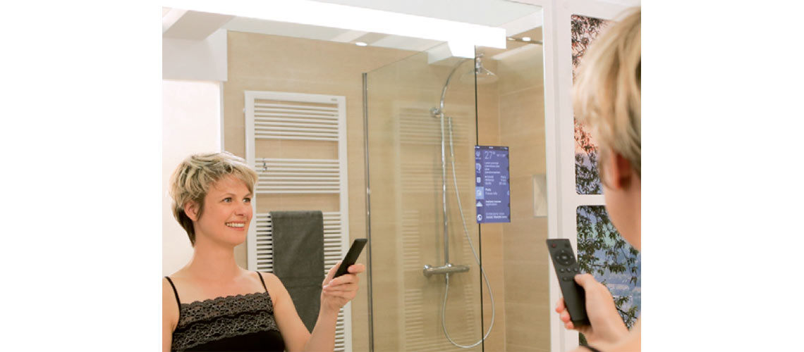 miralite connect miroir connect de saint gobain verre. Black Bedroom Furniture Sets. Home Design Ideas