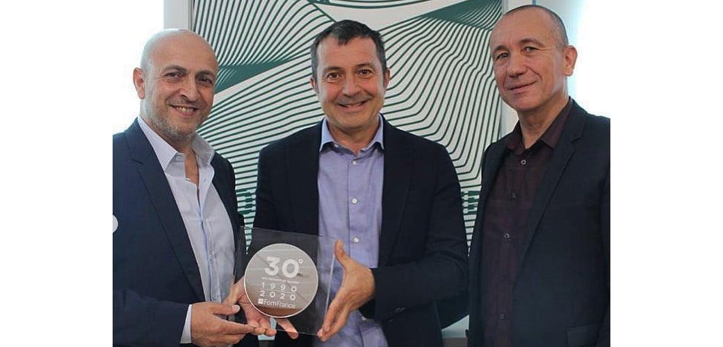 Franck Olivera, co-fondateur et directeur général d'Elgemo, Alessandro Pettinari DG Fom Group et Gilles Le Bagousse Directeur commercial Fom France